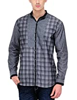 Yepme Men's Checks Grey Cotton Shirt- YPMSHRT0441_38