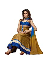 Rozdeal Women Cotton Embroidered Unstitched Sleeveless Anarkali Suit