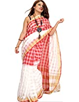 Exotic India Double-Shaded Upada Saree from Andhra Pradesh with Woven Checks - Color Red And WhiteColor Free Size