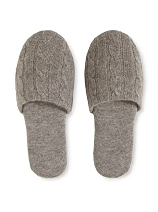 a&R Cashmere Cashmere Cable-Knit Slipper (Heather Grey)