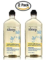 Warm Milk and Honey Body Wash and Foam Bath - Set of TWO Bath and Body Works Aromatherapy Sleep Shower Gel and Bubble Bath - 10 oz each