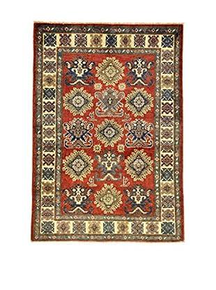 L'EDEN DEL TAPPETO Alfombra Uzebekistan Rojo/Crema/Azul 101 x 142 cm