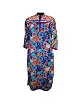 Reednpick Womens Georgette Kurta -Blue -Large
