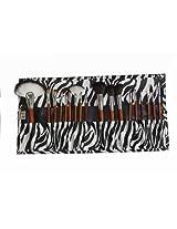 18 Pcs Professional Cosmetic Makeup Brush Set With Zebra,Giraffe,Fashion Girl Pattern Bag (Zebra)
