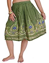 Exotic India Short Skirt With Printed Flowers and Embroidered Sequins - Color Cedar GreenGarment Size Free Size