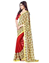 Ethnic Station Red Resham Embroidery Saree