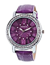Geneva Purple Leather Analog Women Watch - GL-70