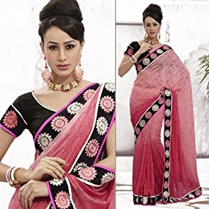 Pink Embroidered Party Saree