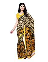 Ambaji Beige & Yellow Coloured Renial Georgette Printed Saree