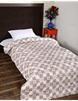 Exclusive Hand Block Printed Cotton Quilt Single White Leaves By Rajrang
