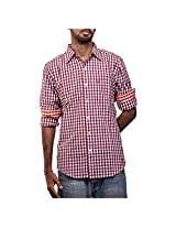 Urban Polo Club Mens Casual Shirt -Red (X-Large)