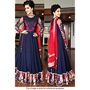 Bollywood Replica Sunny Leone Georgette Suit In Blue and Red Colour NC760