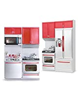 Catterpillar Modern Battery Operated Kitchen Play Set with Refrigerator,Cooktop ,Oven,Cabinet and Accessories with Light and Sound