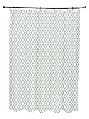 e by design Bird's Eye Shower Curtain, Ivory/Grey/Aqua