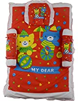 ShreejiNX Baby Teddy Print Mattress Set With Pillow and Bolsters (Red)