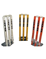"Rhino Top Quality Cricket Spring Back Cricket Stump Set-9""*8""-Metal and Plastic-Assorted Colours"
