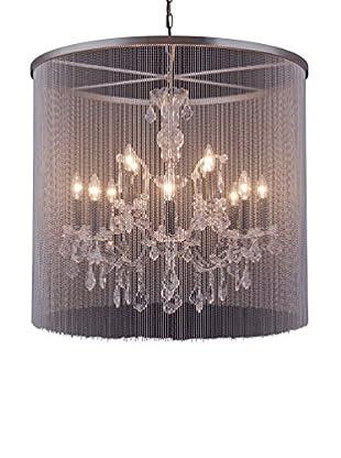Urban Lights Brooklyn 12-Light Pendant Lamp, Mocha Brown/Royal Cut Crystal