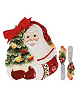 Woodland Holiday Collection, Hostess Dish with 2 Spreaders, Red/White