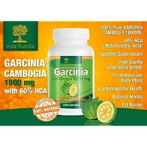 100% Pure Garcinia Cambogia 1000Mg With 60% Hca (Hydroxycitric Acid) Zero Fillers, Zero Binders, Zero Artificial Ingredients