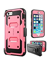 iPhone SE Case, [Armorbox] i-Blason built in [Screen Protector] [Full body] [Heavy Duty Protection ]/Holster/Bumper Case for Apple iPhone SE 2016 Release/Compatible with iPhone 5S/5 (Pink)