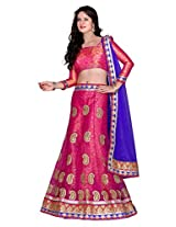 Kanheyas Womens Net  Lehenga Choli (Kmtsd493 _Pink And Blue _Free Size)