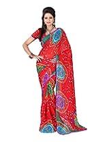 Jai Maa Ambey Creation Women's Georgette Saree (Red)