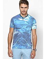 Aqua Blue Henley T Shirt