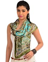 Olive green printed readymade stole