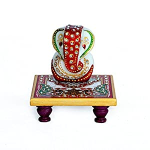 EtsiBitsi Marvellous Marble Ganesh Idol with Peacock design Chowki puja articles Rajasthani Handicrafts Art Antique Decorative Unique all occasion Gift product (MPC 010)