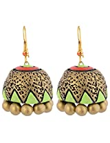 Scorched Earth Mili Terracotta Jhumkas SEE7403 Gold And Light Green Ceramic Jhumki For Women
