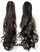 "A.H Chic Natural Look 22"" 170g Synthetic Hair Extension Clip On Claw Hair Piece Dark Brown#2"