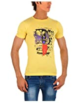 Wow Men's Cotton Half Sleeve Shirt( Yellow,L)