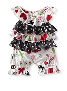 Baby Nay Woven Ruffle Neck Balloon Romper (Crayon Heart)