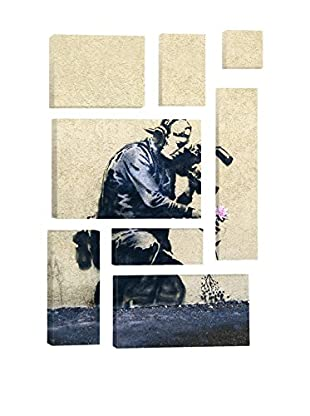 Banksy Camera Man And Flower 8-Piece Giclée On Canvas