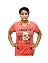 Odishabazaar Women's Cotton Imagedtoay Print Red T-shirt S
