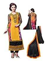 Women Styale salwar kameez Yellow & Black cooured un stiched Dress material