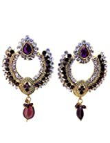 American Diamond/CZ Onyx Look Gold Plated Earrings For Women