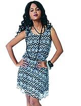 Garden Vareli Womens Chiffon A-Line Dress (Gardenvareli Western Dress 1025-B _Grey _Large)