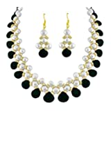 Trendy Souk Real Fresh Water White Button Pearls Necklace set for Women - Black and White
