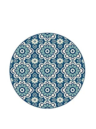 Universal Rugs Garden City Indoor/Outdoor Transitional Rug, Navy, 8' Round