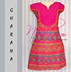 Nool Indian Pink Cotton Kurti Kurta Tops Dress Gharana V Neck Print