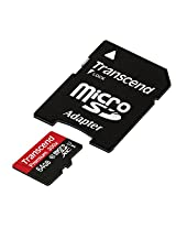 Transcend 64GB MicroSDHC Class10 UHS-1 Memory Card with Adapter 45 MB/s (TS64GUSDU1)