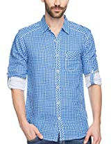 SPYKAR Men Cotton Blue Casual Shirt (X-Large)