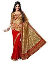 Clickedia Women Georgette & Brasso Red & Beige Beautiful Saree With Attached blouse Pc