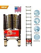 Euro Telescopic Aluminium ladder 3.2mtr(11 feet) - Stores at 2.5 feet - Made in USA - Ultra Portable