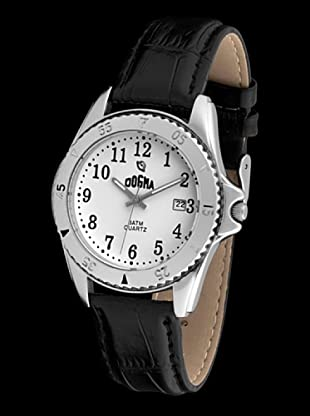 Dogma G1003 - Reloj de Caballero movimiento de quarzo con correa de piel negro