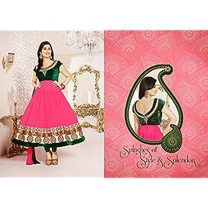 Disha Parmar(Pankhuri) Green & Pink Georgette Top With Santoon Bottom & Chiffon Dupatta Resham & Zari Embroidery Work Anarkali Salwar Suit Set