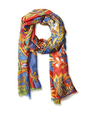 Saachi Women's Multi Color Paisley Scarf, Royal Blue, One Size