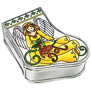 Amia Handpainted Glass Angel Stocking Jewelry Box, 3-1/4-Inch by 2-3/4-Inch by 1-1/4-Inch