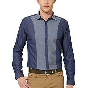 Van Heusen Men's Slim Fit Cotton Shirt [14566_Blue_46]